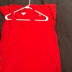 Red ribbed maxi dress